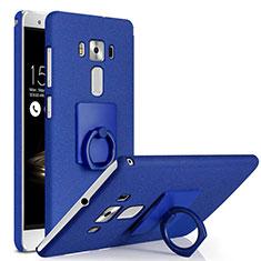 Handyhülle Hülle Kunststoff Schutzhülle Treibsand mit Fingerring Ständer für Asus Zenfone 3 Deluxe ZS570KL ZS550ML Blau