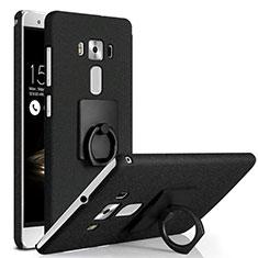 Handyhülle Hülle Kunststoff Schutzhülle Treibsand mit Fingerring Ständer für Asus Zenfone 3 Deluxe ZS570KL ZS550ML Schwarz