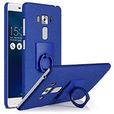 Handyhülle Hülle Kunststoff Schutzhülle Treibsand mit Fingerring Ständer für Asus Zenfone 3 Laser Blau