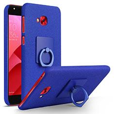 Handyhülle Hülle Kunststoff Schutzhülle Treibsand mit Fingerring Ständer für Asus Zenfone 4 Selfie Pro Blau