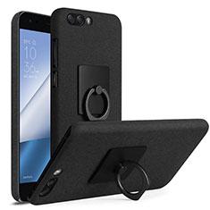 Handyhülle Hülle Kunststoff Schutzhülle Treibsand mit Fingerring Ständer für Asus Zenfone 4 ZE554KL Schwarz