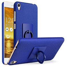 Handyhülle Hülle Kunststoff Schutzhülle Treibsand mit Fingerring Ständer für Asus Zenfone Live ZB501KL Blau
