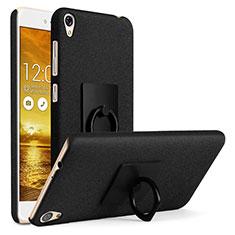 Handyhülle Hülle Kunststoff Schutzhülle Treibsand mit Fingerring Ständer für Asus Zenfone Live ZB501KL Schwarz