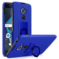 Handyhülle Hülle Kunststoff Schutzhülle Treibsand mit Fingerring Ständer für Blackberry DTEK60 Blau