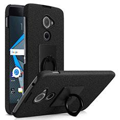 Handyhülle Hülle Kunststoff Schutzhülle Treibsand mit Fingerring Ständer für Blackberry DTEK60 Schwarz