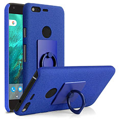 Handyhülle Hülle Kunststoff Schutzhülle Treibsand mit Fingerring Ständer für Google Pixel Blau