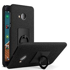 Handyhülle Hülle Kunststoff Schutzhülle Treibsand mit Fingerring Ständer für HTC U Play Schwarz