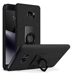 Handyhülle Hülle Kunststoff Schutzhülle Treibsand mit Fingerring Ständer für HTC U Ultra Schwarz