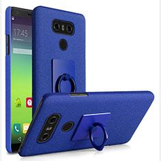 Handyhülle Hülle Kunststoff Schutzhülle Treibsand mit Fingerring Ständer für LG G6 Blau