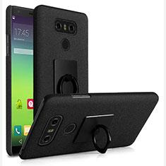 Handyhülle Hülle Kunststoff Schutzhülle Treibsand mit Fingerring Ständer für LG G6 Schwarz