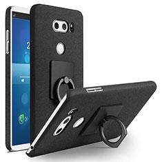 Handyhülle Hülle Kunststoff Schutzhülle Treibsand mit Fingerring Ständer für LG V30 Schwarz