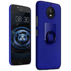 Handyhülle Hülle Kunststoff Schutzhülle Treibsand mit Fingerring Ständer für Motorola Moto G5S Blau