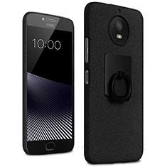 Handyhülle Hülle Kunststoff Schutzhülle Treibsand mit Fingerring Ständer für Motorola Moto G5S Schwarz