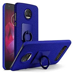 Handyhülle Hülle Kunststoff Schutzhülle Treibsand mit Fingerring Ständer für Motorola Moto Z2 Force Blau