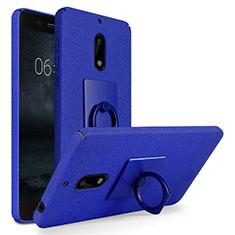 Handyhülle Hülle Kunststoff Schutzhülle Treibsand mit Fingerring Ständer für Nokia 6 Blau