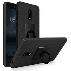 Handyhülle Hülle Kunststoff Schutzhülle Treibsand mit Fingerring Ständer für Nokia 6 Schwarz