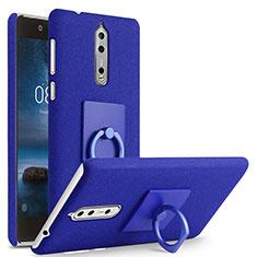 Handyhülle Hülle Kunststoff Schutzhülle Treibsand mit Fingerring Ständer für Nokia 8 Blau