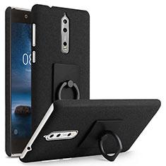 Handyhülle Hülle Kunststoff Schutzhülle Treibsand mit Fingerring Ständer für Nokia 8 Schwarz