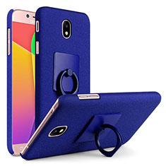 Handyhülle Hülle Kunststoff Schutzhülle Treibsand mit Fingerring Ständer für Samsung Galaxy J7 (2017) SM-J730F Blau