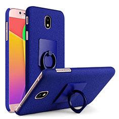 Handyhülle Hülle Kunststoff Schutzhülle Treibsand mit Fingerring Ständer für Samsung Galaxy J7 Pro Blau
