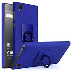 Handyhülle Hülle Kunststoff Schutzhülle Treibsand mit Fingerring Ständer für Sony Xperia L1 Blau