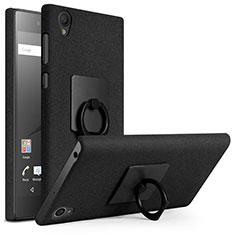 Handyhülle Hülle Kunststoff Schutzhülle Treibsand mit Fingerring Ständer für Sony Xperia L1 Schwarz