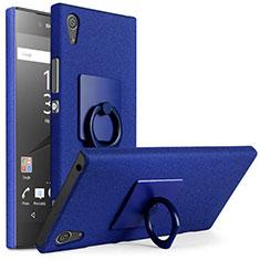 Handyhülle Hülle Kunststoff Schutzhülle Treibsand mit Fingerring Ständer für Sony Xperia XA1 Blau