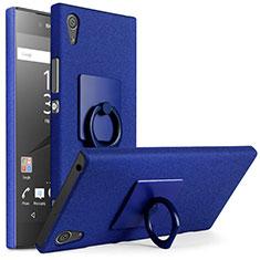 Handyhülle Hülle Kunststoff Schutzhülle Treibsand mit Fingerring Ständer für Sony Xperia XA1 Plus Blau
