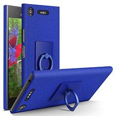 Handyhülle Hülle Kunststoff Schutzhülle Treibsand mit Fingerring Ständer für Sony Xperia XZ1 Blau