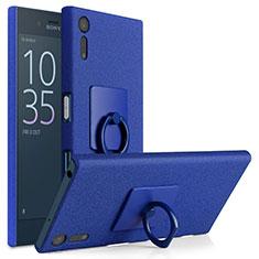Handyhülle Hülle Kunststoff Schutzhülle Treibsand mit Fingerring Ständer für Sony Xperia XZs Blau
