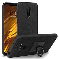 Handyhülle Hülle Kunststoff Schutzhülle Treibsand mit Fingerring Ständer für Xiaomi Pocophone F1 Schwarz