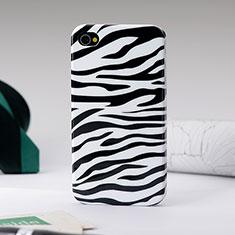 Handyhülle Hülle Kunststoff Schutzhülle Zebra für Apple iPhone 4S Schwarz