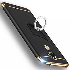 Handyhülle Hülle Luxus Aluminium Metall für Huawei Enjoy 7 Plus Schwarz