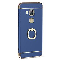 Handyhülle Hülle Luxus Aluminium Metall mit Fingerring Ständer für Huawei G7 Plus Blau