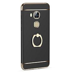 Handyhülle Hülle Luxus Aluminium Metall mit Fingerring Ständer für Huawei G8 Schwarz