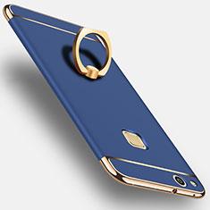 Handyhülle Hülle Luxus Aluminium Metall mit Fingerring Ständer für Huawei P10 Lite Blau