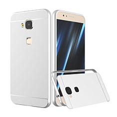 Handyhülle Hülle Luxus Aluminium Metall Rahmen für Huawei G7 Plus Silber