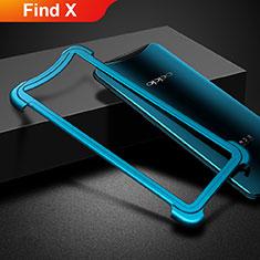 Handyhülle Hülle Luxus Aluminium Metall Rahmen für Oppo Find X Blau