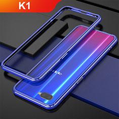 Handyhülle Hülle Luxus Aluminium Metall Rahmen für Oppo K1 Blau