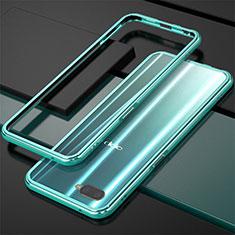 Handyhülle Hülle Luxus Aluminium Metall Rahmen für Oppo R15X Cyan