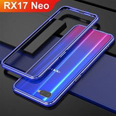 Handyhülle Hülle Luxus Aluminium Metall Rahmen für Oppo RX17 Neo Blau