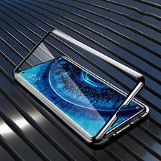 Handyhülle Hülle Luxus Aluminium Metall Rahmen Spiegel 360 Grad Ganzkörper Tasche A01 für Oppo Find X2 Pro Schwarz