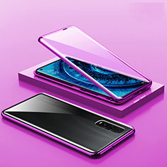 Handyhülle Hülle Luxus Aluminium Metall Rahmen Spiegel 360 Grad Ganzkörper Tasche A02 für Oppo Find X2 Pro Violett
