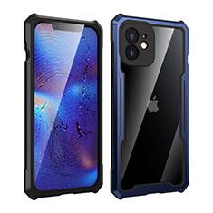 Handyhülle Hülle Luxus Aluminium Metall Rahmen Spiegel 360 Grad Ganzkörper Tasche für Apple iPhone 12 Blau und Schwarz