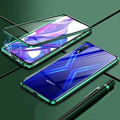 Handyhülle Hülle Luxus Aluminium Metall Rahmen Spiegel 360 Grad Ganzkörper Tasche für Huawei Enjoy 10 Grün