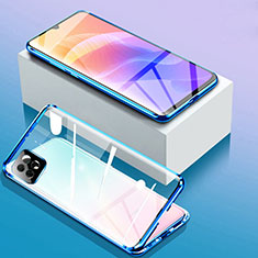 Handyhülle Hülle Luxus Aluminium Metall Rahmen Spiegel 360 Grad Ganzkörper Tasche für Huawei Enjoy 20 5G Blau