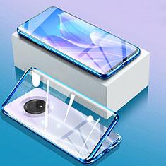 Handyhülle Hülle Luxus Aluminium Metall Rahmen Spiegel 360 Grad Ganzkörper Tasche für Huawei Enjoy 20 Plus 5G Blau
