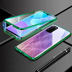 Handyhülle Hülle Luxus Aluminium Metall Rahmen Spiegel 360 Grad Ganzkörper Tasche für Huawei Honor 30 Lite 5G Grün