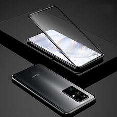 Handyhülle Hülle Luxus Aluminium Metall Rahmen Spiegel 360 Grad Ganzkörper Tasche für Huawei Honor 30 Schwarz