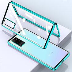 Handyhülle Hülle Luxus Aluminium Metall Rahmen Spiegel 360 Grad Ganzkörper Tasche für Huawei Honor Play4 Pro 5G Cyan